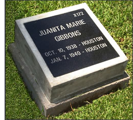 X172 - Juanita A Marie Gibbons - Oct. 10, 1938 - HOUSTON; Jan. 7, 1940 - HOUSTON